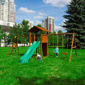 Детские городки Jungle Cottage + Rock+SwingModule Xtra + Рукоход