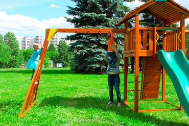 Детские городки Jungle Cottage + Rock+SwingModule Xtra + Рукоход 4